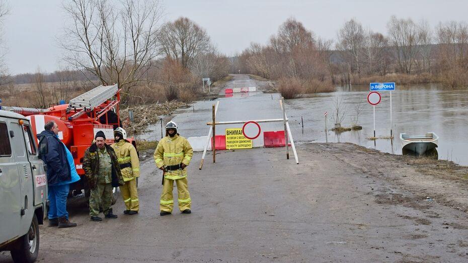 Мост через реку Ворона в Воронежской области ушел под воду