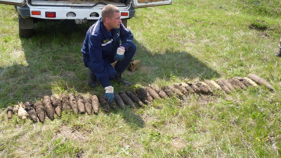 Острогожцы нашли в поле 37 немецких и советских снарядов времен войны