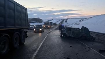 Из-за ДТП с пожаром и 7 погибшими на воронежской трассе образовалась 6-километровая пробка