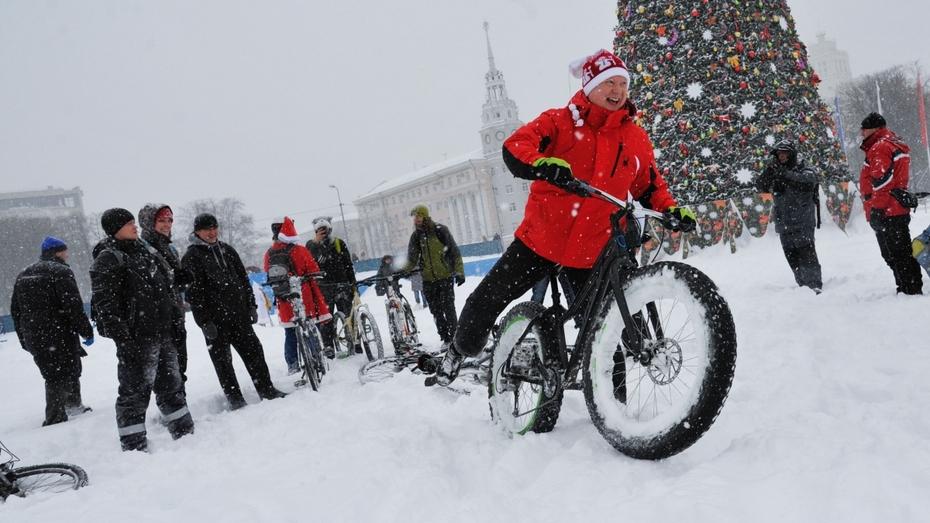 В Воронеже новогодний велопробег прошел пешком