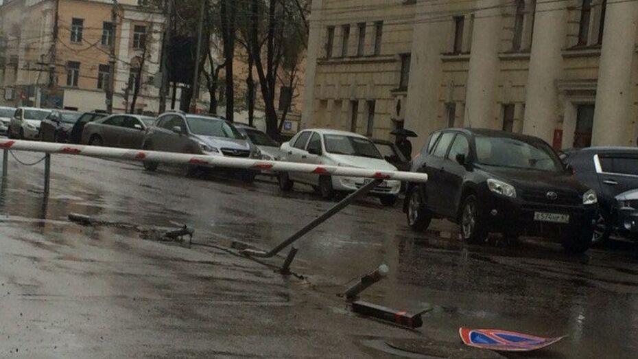 В центре Воронежа автомобилист снес дорожные знаки