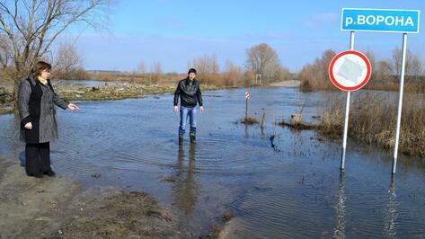В Грибановском районе мост на реке Ворона ушел под воду