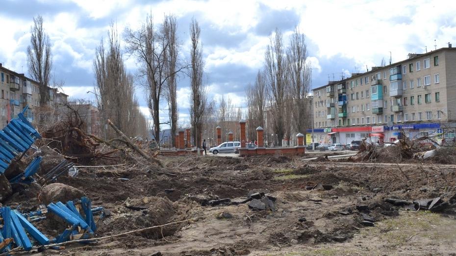 В Лисках начали реконструкцию сквера в районе «Интернат»