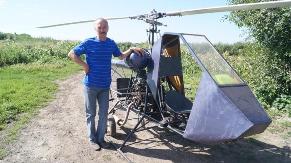 Кантемировец своими руками собрал вертолет и летает на нем над райцентром