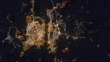 Космонавт сфотографировал с орбиты ночной Воронеж