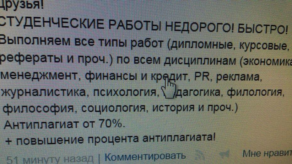 Мошенники по курсовым работам попались в Воронеже