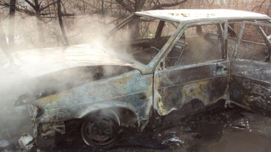 В Воронежской области в лесу нашли сгоревший автомобиль с останками человека
