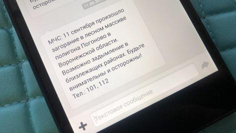 Воронежское МЧС разослало SMS о возможном задымлении из-за пожара на «Погоново»