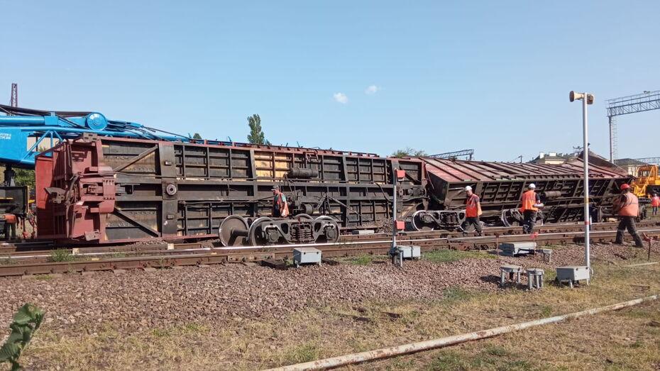 Два вагона с зерном и соей сошли с рельсов и перевернулись в Воронежской области
