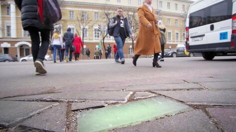 В Воронеже первый пешеходный переход оборудовали светящейся плиткой