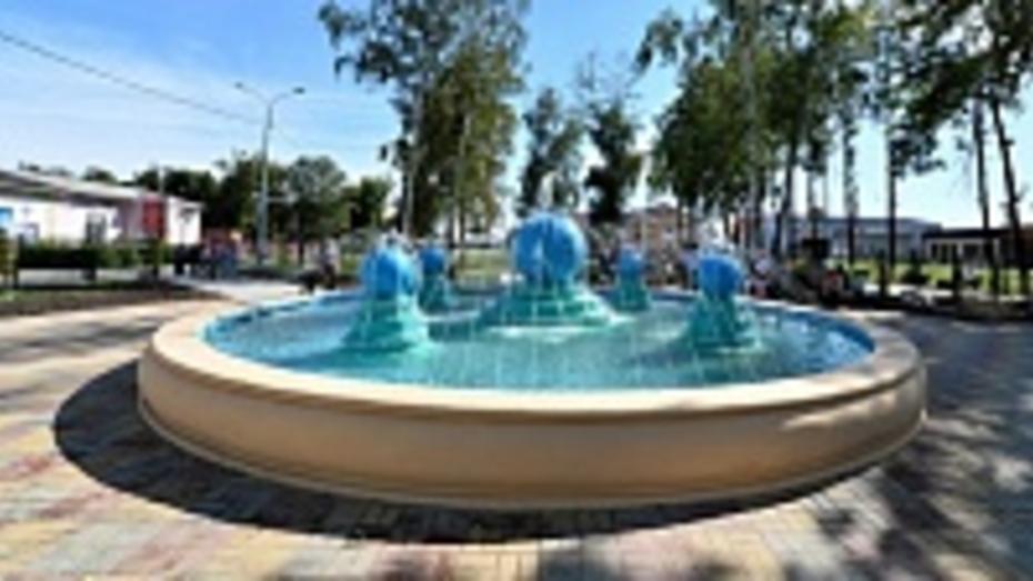 В панинском парке появился фонтан, автогородок и скульптура землепашца