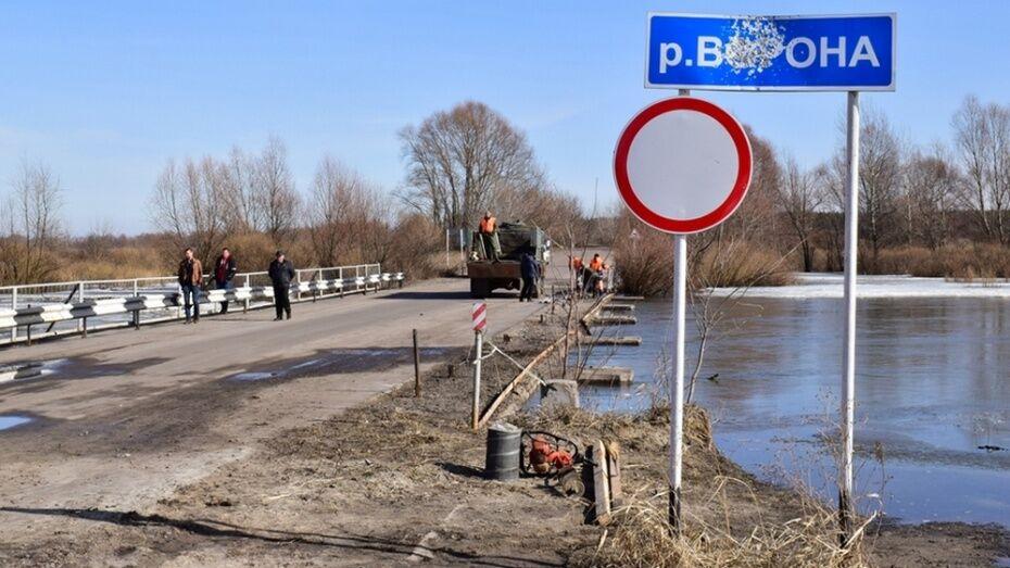 Спасатели спрогнозировали подтопление моста через реку Ворона в Воронежской области