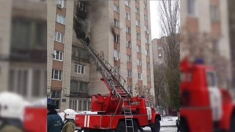 Пожар в воронежском общежитии попал на видео