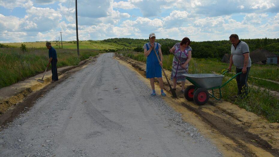 Общественники нижнедевицкого села укрепили 350 м дороги