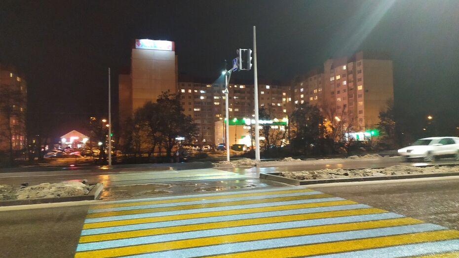 Еще одна «зебра» с подсветкой появилась в Воронеже