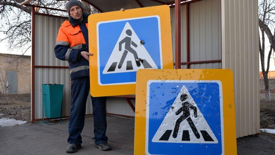 В Нижнедевицком районе расстреляли дорожные знаки