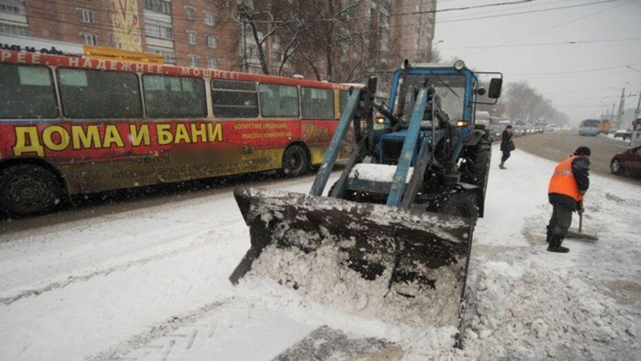 Ночью 24 января со снежными заносами на воронежских дорогах боролись 150 коммунальных машин