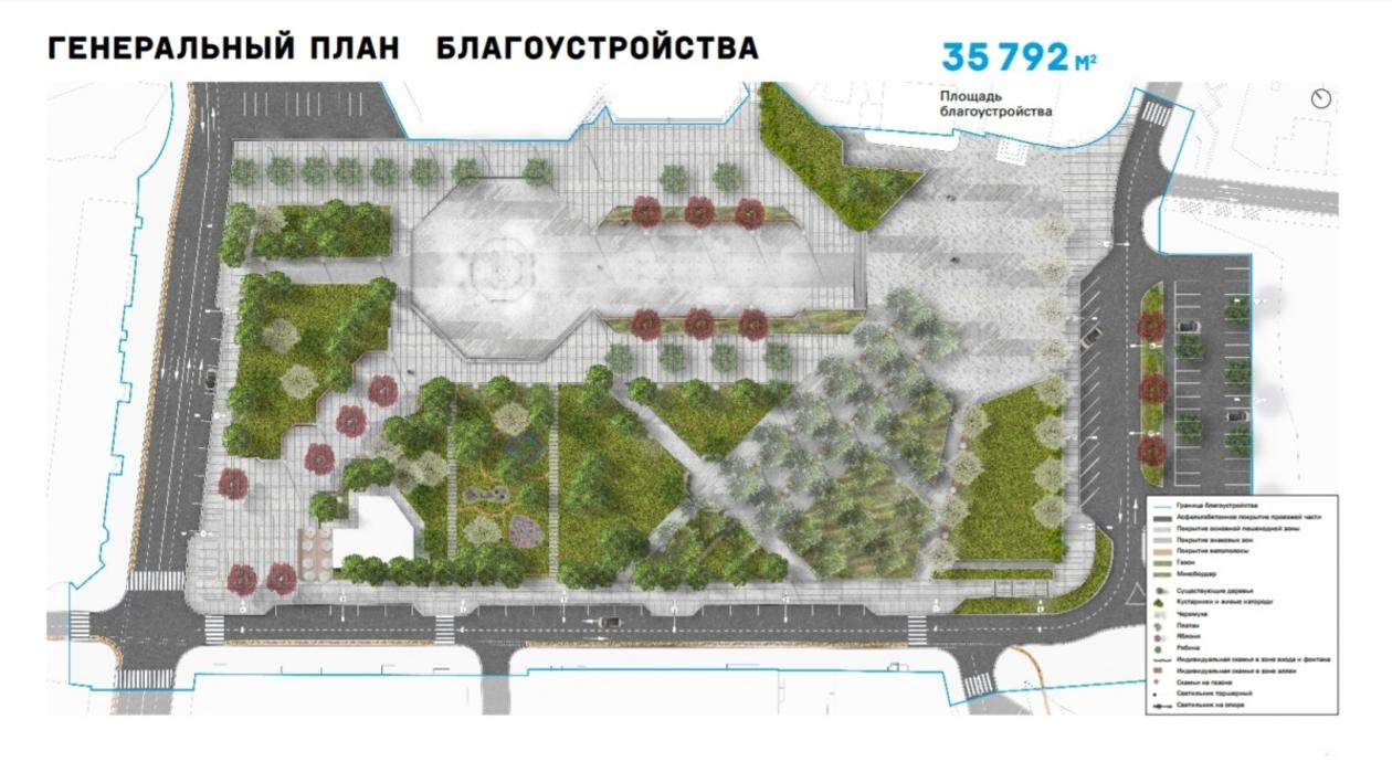 Сухой фонтан и бетонные лавочки. В Воронеже показали проект реновации Советской площади