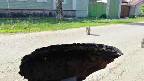 В Воронеже на улице Сочинской провалился асфальт