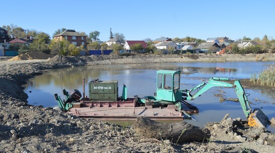 Плавучий экскаватор-погрузчик приступил к очистке  Тамбовского озера в Павловске