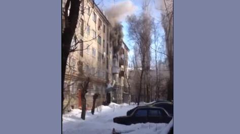 Пожар в Коминтерновском районе Воронежа попал на видео