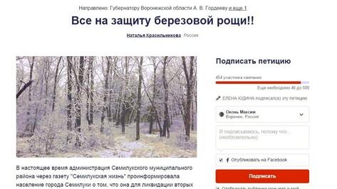 Жители Семилук создали петицию в защиту березовой рощи