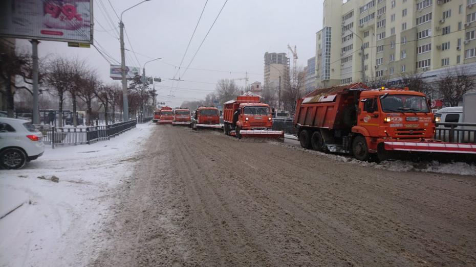 По улицам Воронежа рассыпали 2 тыс тонн пескосмеси