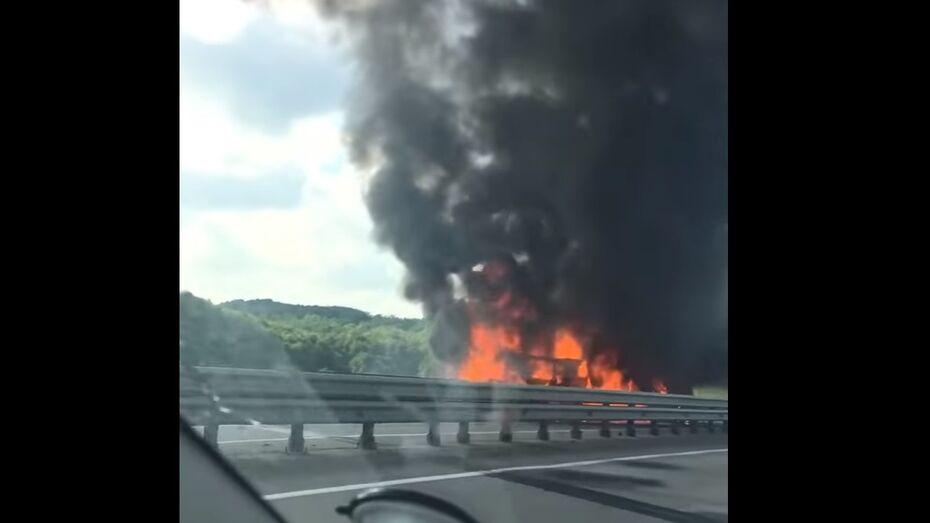 В Воронежской области горящие после массовой аварии на М4 автомобили попали на видео