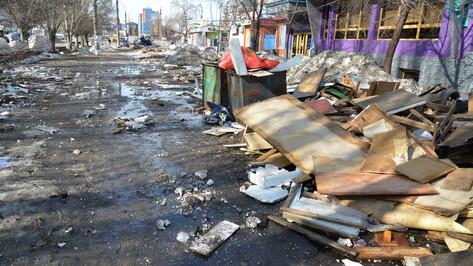 В Воронеже снесли рынок на Димитрова