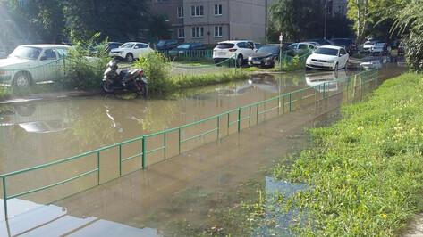 Воронежский двор затопило из-за коммунальной аварии