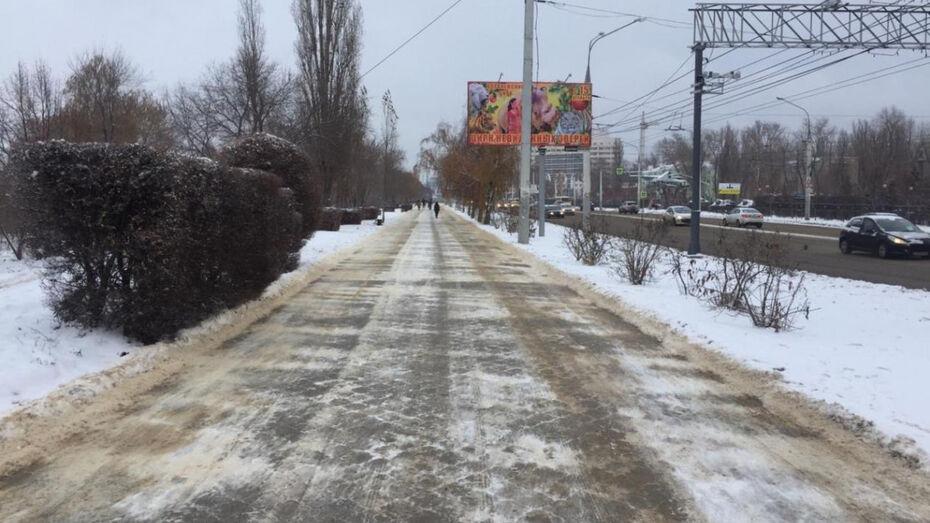 Воронежские коммунальщики посыпали дороги до снегопада