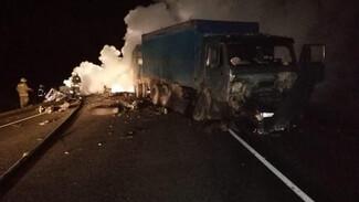 КамАЗ и ВАЗ-2115 вспыхнули после смертельного ДТП в Воронежской области