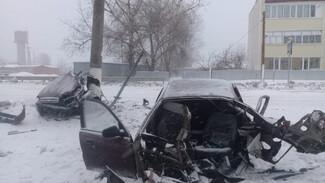 Иномарку разорвало пополам после столкновения с опорой ЛЭП в Воронежской области