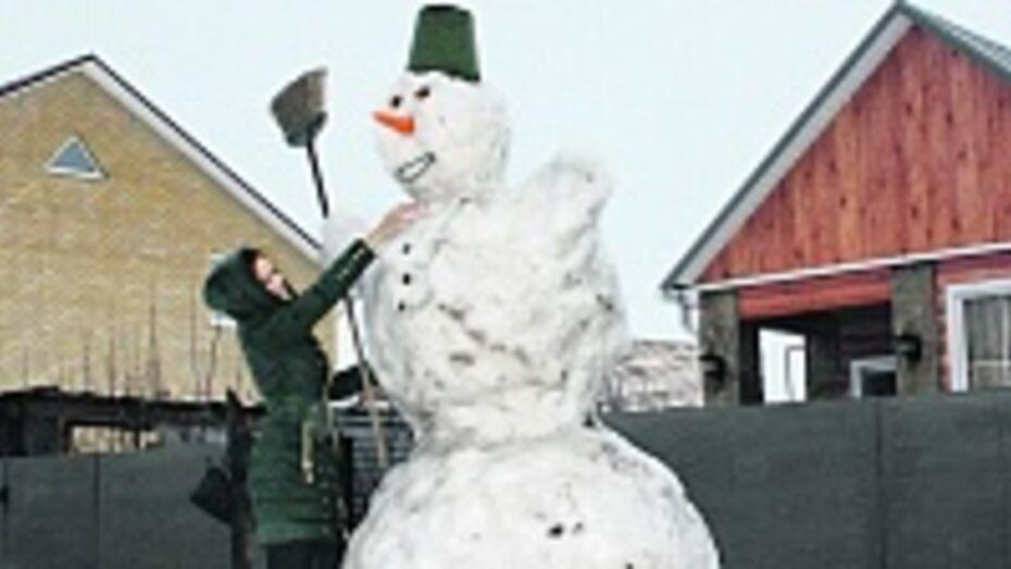 На улице Пролетарская в Панино появился огромный снеговик