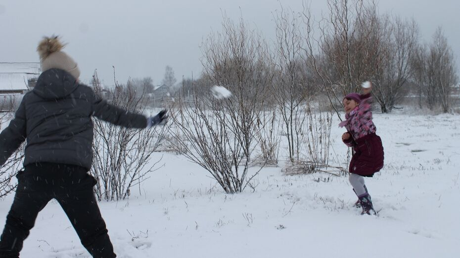 В Борисоглебске выпал снег