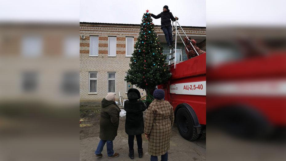 Жители россошанского села Новая Калитва купили и установили на площади искусственную елку