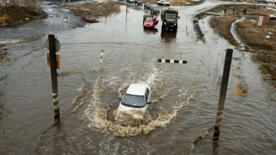 Из-за подтопления дороги в Борисоглебске случился транспортный коллапс