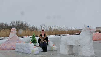 В Новохоперском районе сельчанка слепила к Новому году 10 снежных фигур