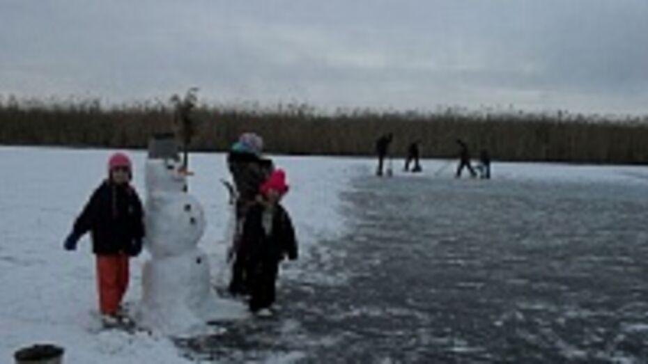 Жители новохоперского села устроили на реке Елань каток и выкрасили снег зеленкой