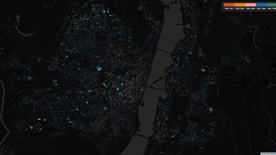 Карту возраста домов Воронежа опубликовали в Сети