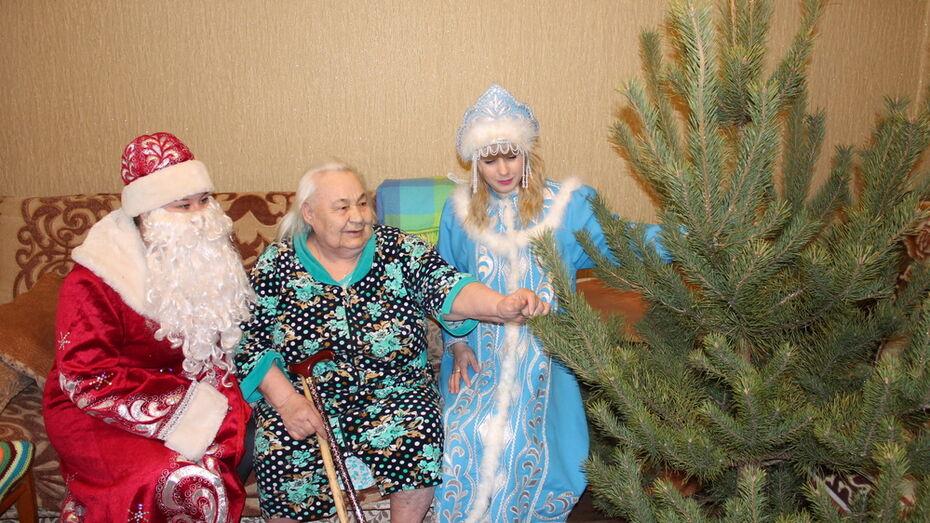 В Верхнемамонском районе одиноким пенсионерам подарили новогодние елки