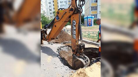 В Воронеже провалился асфальт на тротуаре