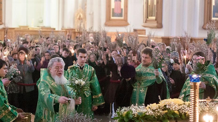 В Благовещенском соборе Воронежа прошли богослужения накануне Вербного воскресенья