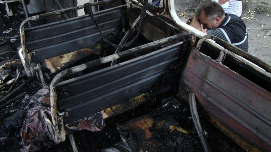 В Лисках сгорел маршрутный автобус