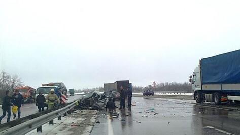 BMW врезался в автопоезд в Воронежской области: 2 человека ранены