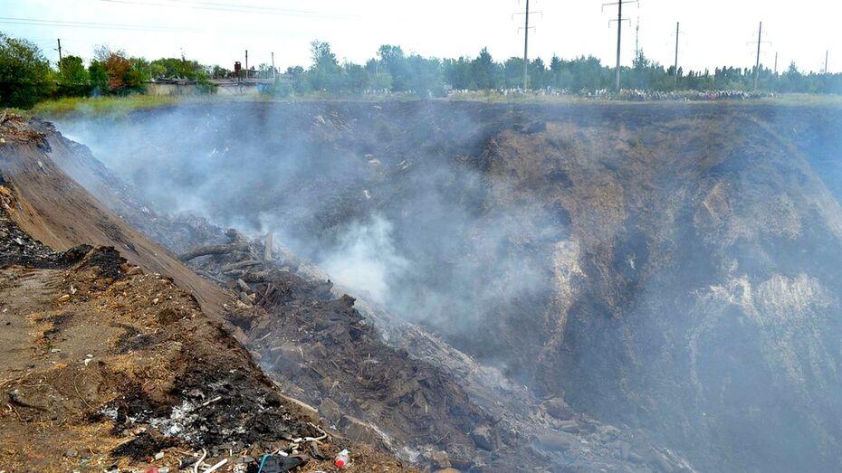 Масштабный пожар на свалке под Воронежем потушили за 11 часов