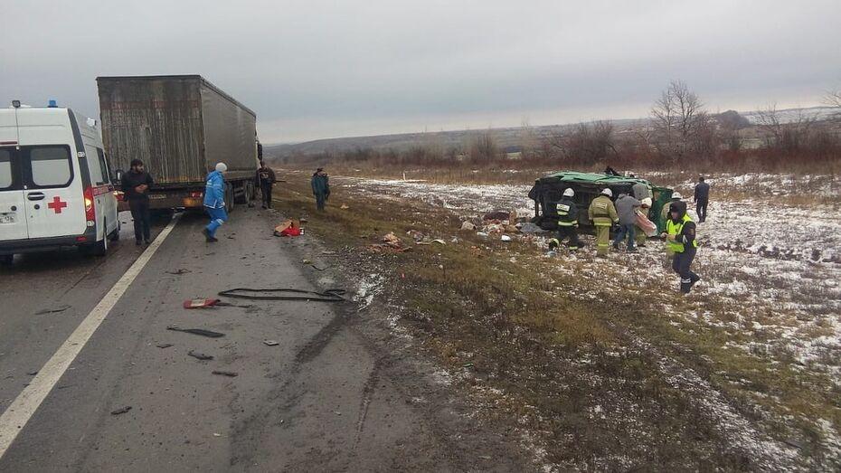 В Воронежской области столкнулись грузовик и микроавтобус: 2 погибли и 7 ранены
