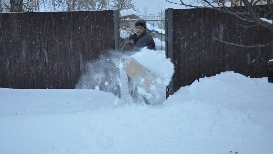 Жители Павловска убирали снег с улиц города лопатами