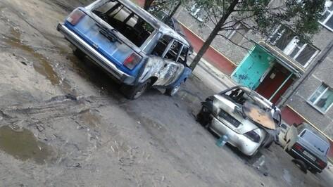 В Воронеже сгорели 2 припаркованные у дома машины