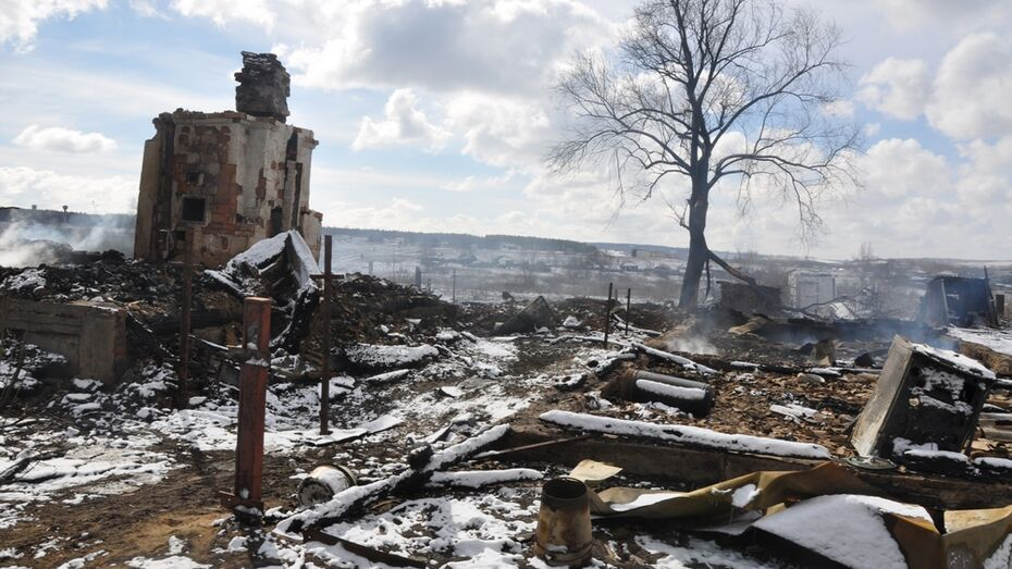 В селе Грань Павловского района выгорела часть улицы